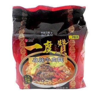維力 一度贊-麻辣牛肉麵 185g (3入)/袋