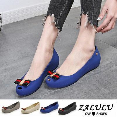 ZALULU愛鞋館7U104預購款氣質百搭平底娃娃款防水雨鞋-黑藍杏灰-35-40