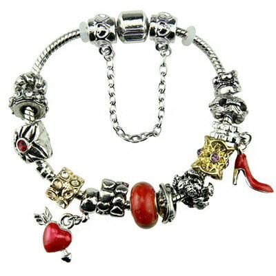 ~手鍊 潘朵拉元素串珠 925純銀手環~琉璃飾品紅色高跟 鞋一箭穿心 母親節生日情人節 女