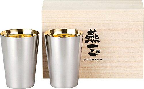 PREMIUM燕三【日本代購】和平フレイズ 24K鍍金 不銹鋼保溫杯270ml 2件套 木盒装 典藏  送禮 EM-9406