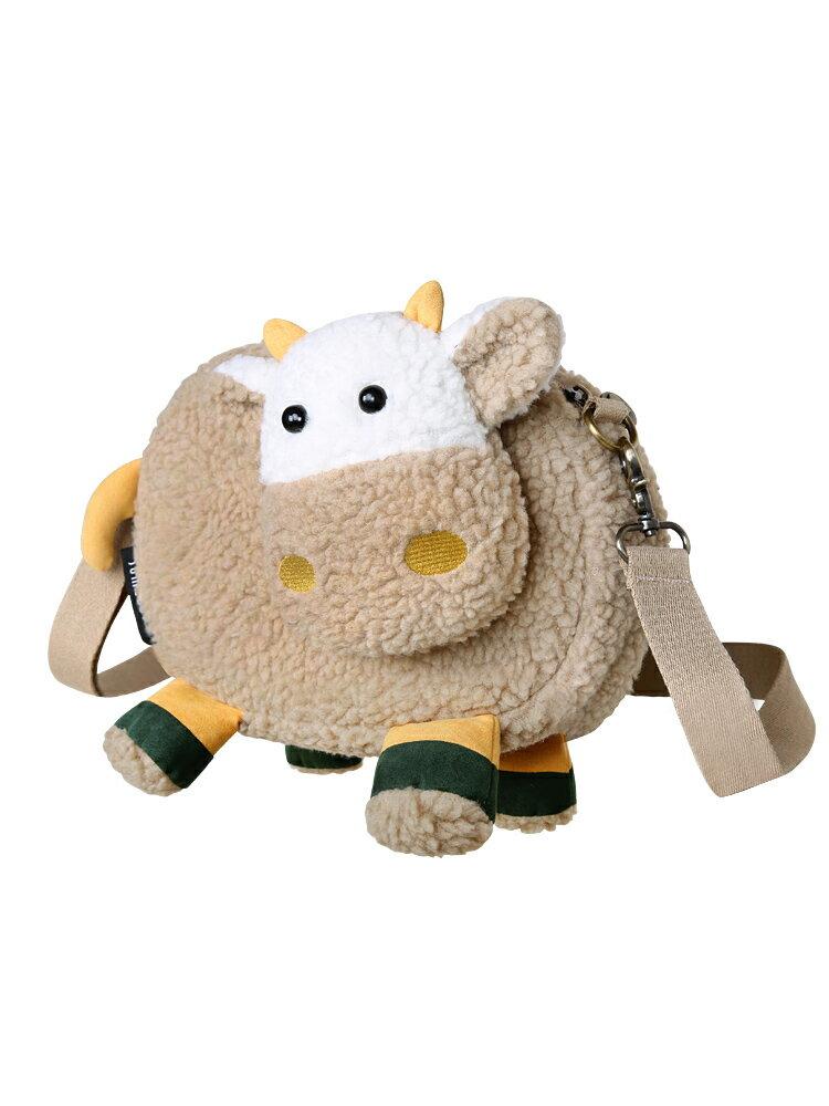 毛毛包 三色補丁羊羔毛小包包女2020秋冬新款卡通毛毛絨包可愛少女斜背包『CM39329』
