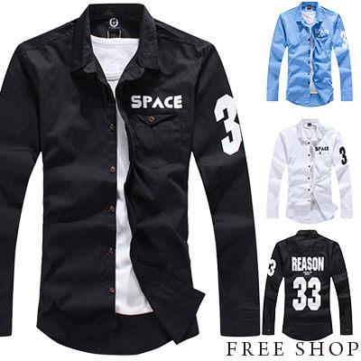 《全店399免運》Free Shop【QSPN3374】日韓系潮流 美式休閒33號數字口袋長袖襯衫工作襯衫‧ 三色