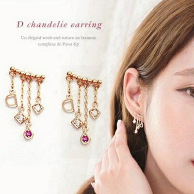 ~925純銀耳環鑲鑽耳飾~ 精緻百搭流蘇情人節生日 女飾品2色73du7~ ~~米蘭 ~