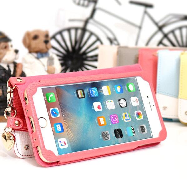 日韓系列Apple蘋果iPhone66s78Plus撞色款皮套4.7吋5.5吋側掀側翻插卡保護套手機套附掛繩