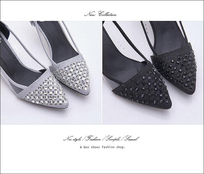格子舖*【KF198-13】搶眼金蔥水鑽拼接透明片輕熟時尚 5CM金屬細中跟 尖頭包鞋 高跟鞋 2色 2