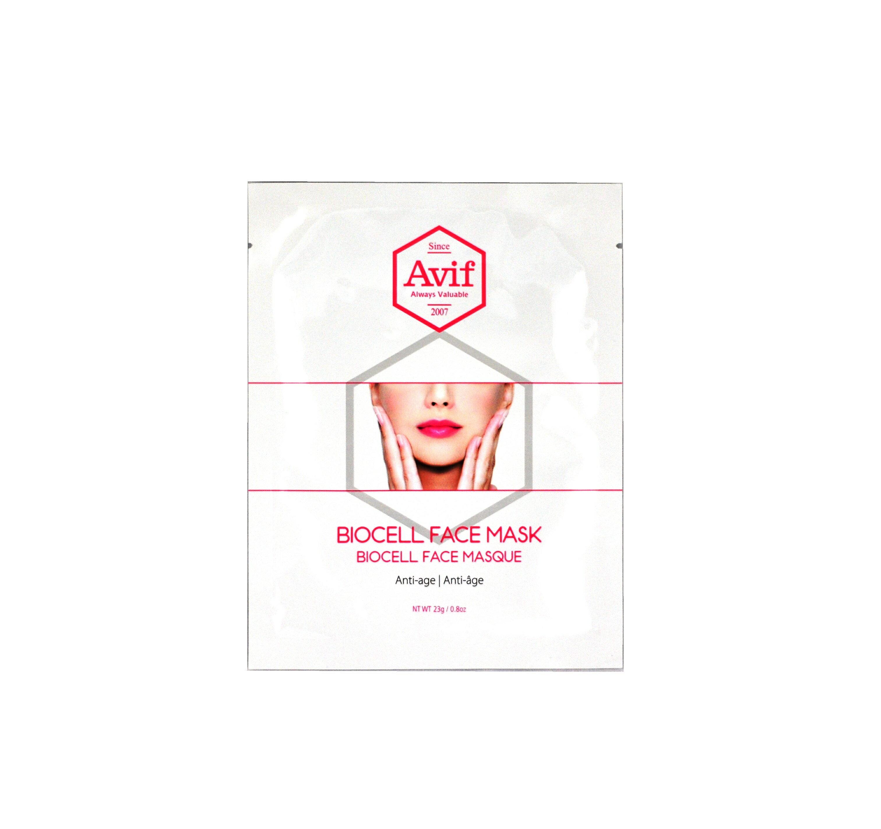 Avif 韓國抗老化面膜 含多天然種植物萃取精華,甘油、銀葉百里香萃取液、膠原蛋白、甜瓜