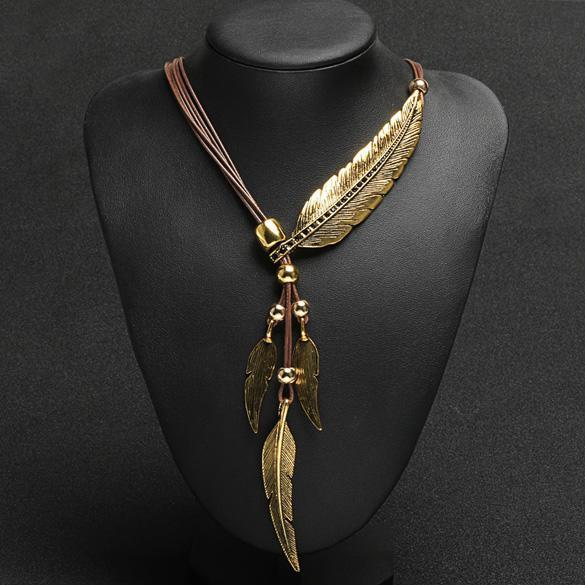 Bohemian Style Bronze Rope Chain Feather Pattern Pendant  Necklace 0