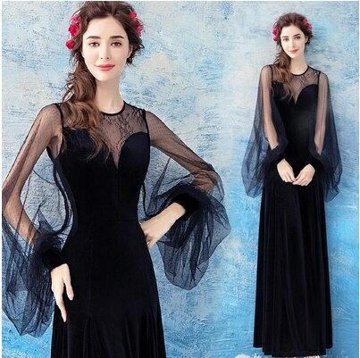 天使嫁衣:天使嫁衣【AE602】黑色植絨網紗低胸收腰齊地長禮服˙預購訂製款
