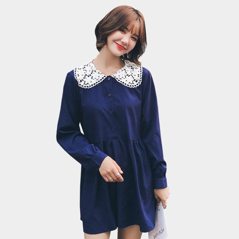雪紡上衣--氣質可愛蕾絲娃娃領排扣A字寬鬆修身顯瘦雪紡長上衣(藍L-3L)-X312眼圈熊中大尺碼 0