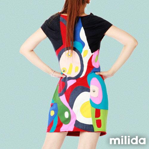 【Milida,全店七折免運】削肩袖氣質洋裝 2