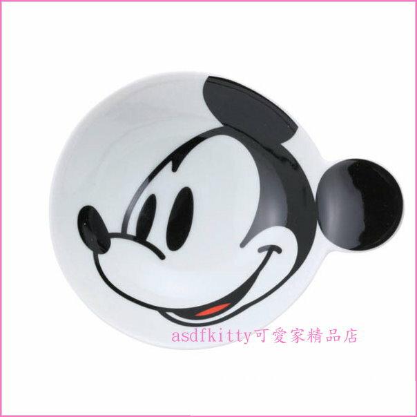 asdfkitty可愛家☆迪士尼米奇陶瓷醬料碟/小碟子/點心皿-可裝小菜或點心-也可當做湯匙架.筷架-日本正版商品