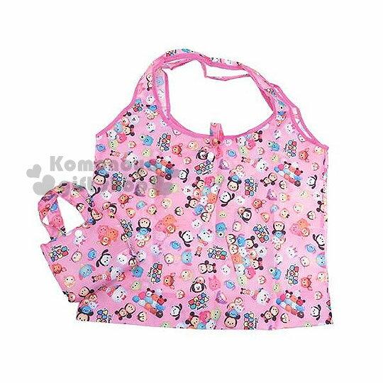 〔小禮堂〕迪士尼 TSUM TSUM 環保購物袋《粉.多角色大臉.疊疊樂》可摺疊.附收納包