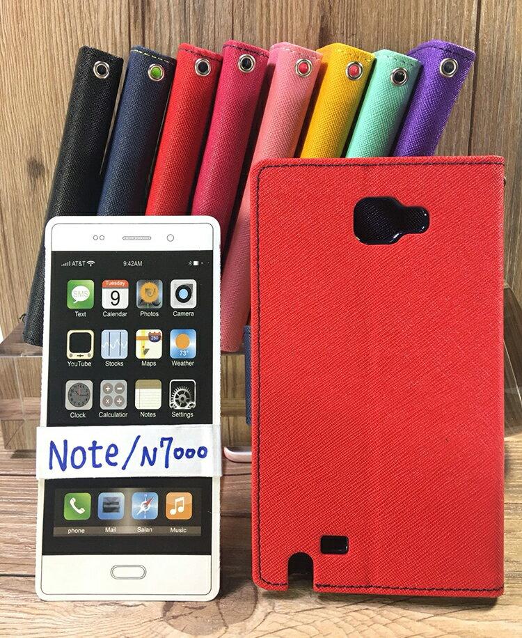 福利品側翻皮套 SAMSUNG Galaxy Note N7000 I9220 撞色皮套 可立式 插卡 保護套 手機套