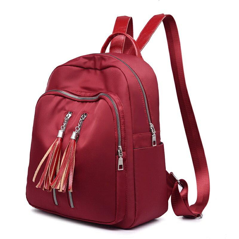 後背包牛津布雙肩包-雙拉鍊流蘇純色大容量女包包3色73wy36【獨家進口】【米蘭精品】 0