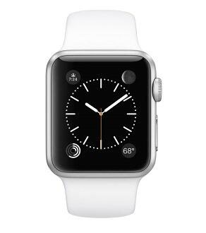 Apple Watch 38mm銀色鋁金屬配白色運動錶帶(MJ2T2TA/A)