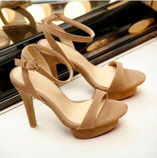 Pyf♥歐美經典百搭絨面露趾高跟涼鞋優雅性感一字扣帶街拍11cm跟鞋43大尺碼女鞋