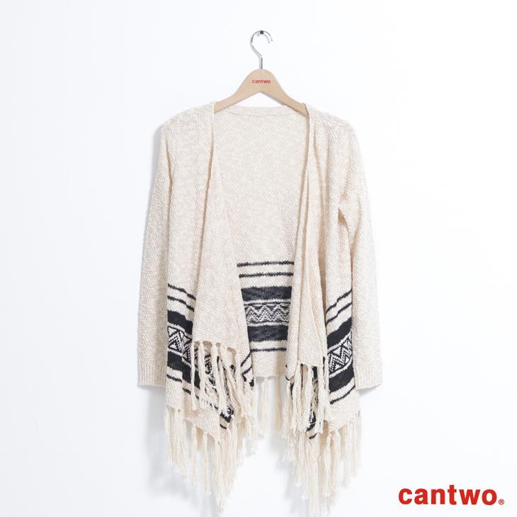 cantwo波希米亞圖騰流蘇針織外套(共二色) 5
