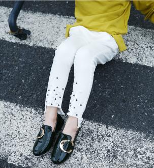 Q嫩童裝 韓版中大童釘珠鉛筆褲修身小腳褲 ZT011