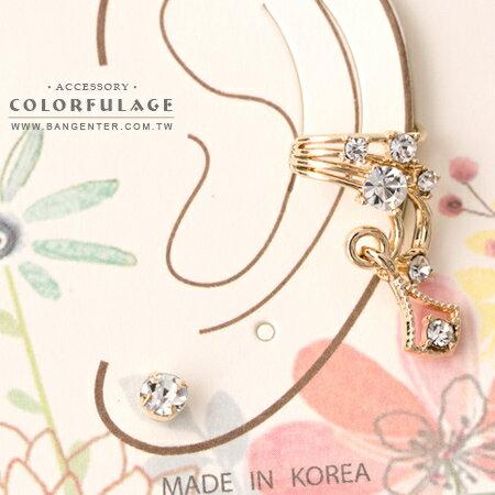 耳針耳環 璀璨奢華 金色流線垂墜X閃耀水鑽 華麗而不俗 柒彩年代【ND353】一組