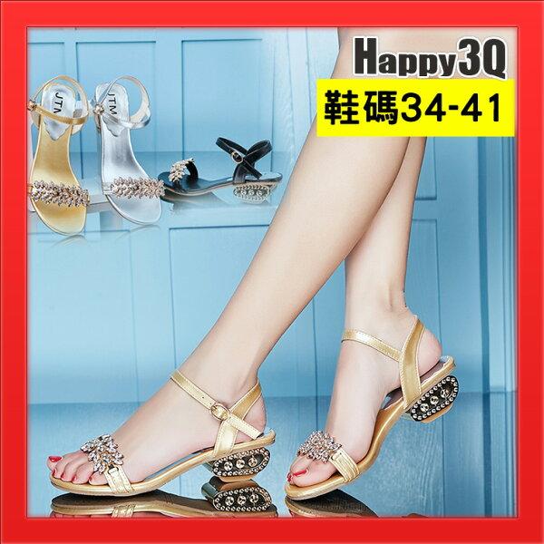 女鞋碎花涼鞋平底鞋水鑽涼鞋子女鞋尖頭女鞋-金銀黑34-41【AAA4689】