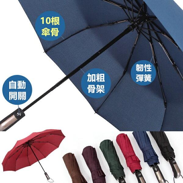 Life365:素色自動傘雨傘大傘面抗強風防風傘摺疊傘折疊傘陽傘晴雨傘雨衣【RS655】