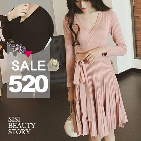 SISI【D6023】優雅名媛V領純色縮腰顯瘦綁帶中長款大襬針織連身裙洋裝