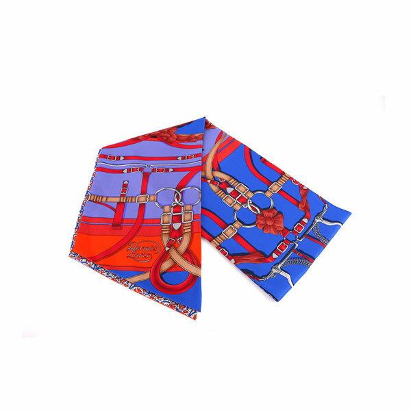 【HERMES】藍底皮帶圖騰 大TWILLY (藍色) HE75100015