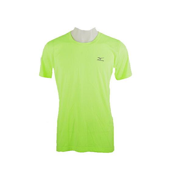 32TA600844(螢光黃綠)合身版機能麻花布料 男短袖T恤 【美津濃MIZUNO】