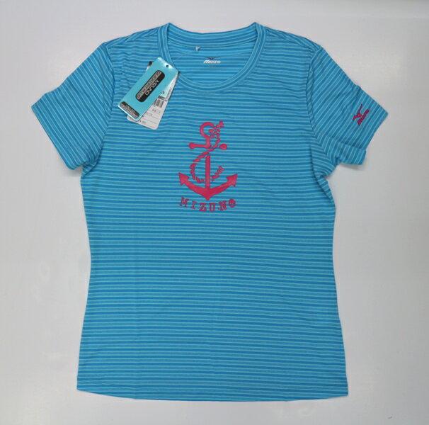 [陽光樂活] MIZUNO 美津濃 女運動短袖T恤 水藍 吸汗快乾 N2TA620119