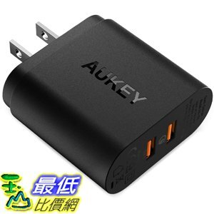 [7美國直購] 充電器 AUKEY USB Wall Charger with Quick Charge 3.0 Dual Ports Samsung Galaxy HTC iPhone XS and More