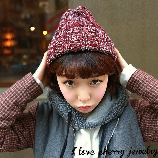 混色針織休閒毛線帽 毛帽【櫻桃飾品】【21360】