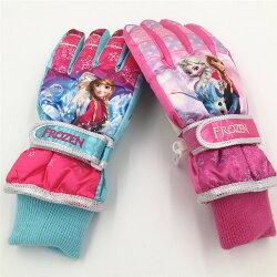 正版  冰雪奇緣兒童幼兒學生手套分指滑雪保暖寒手套/適合8-12歲