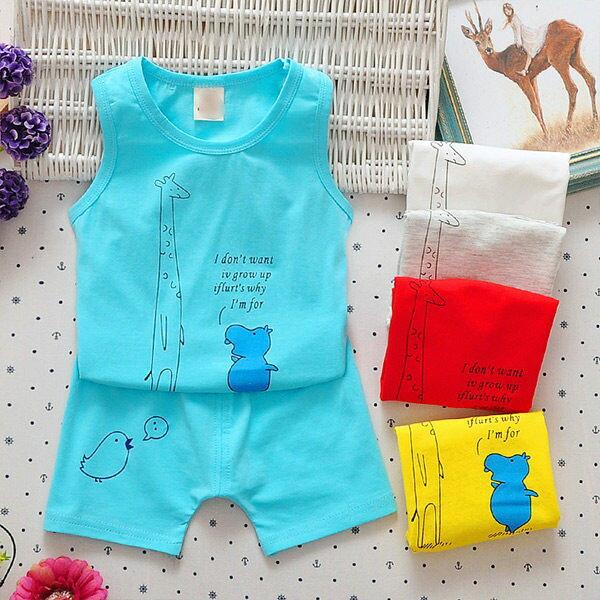 嬰兒短袖套裝 背心 短褲 寶寶 UG11543 好娃娃