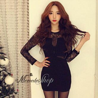 梅西蒂絲 -韓國性感緊身包臀修身顯瘦長袖蕾絲洋裝