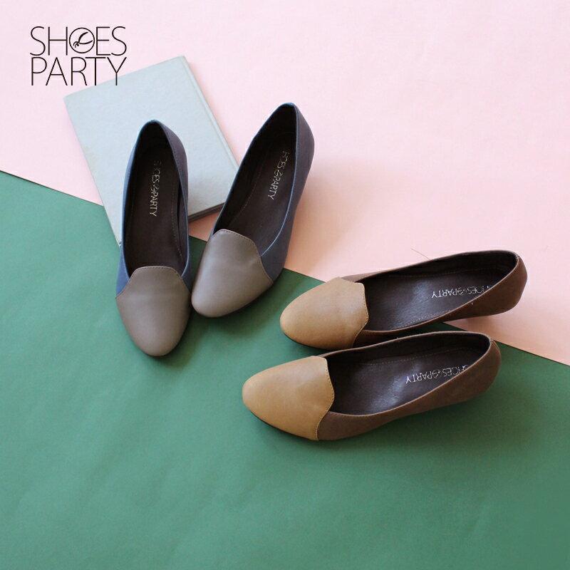 【P2-17123L】拚色氣質真皮低跟鞋_Shoes Party 0
