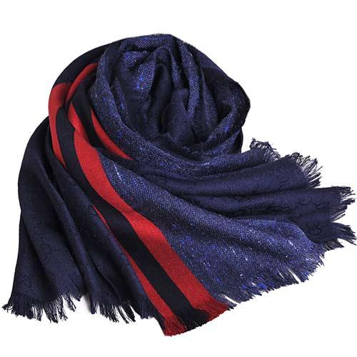 GUCCI SU LION 藍紅藍圖騰GG LOGO紋絲綢混羊駝披肩圍巾(藍灰)