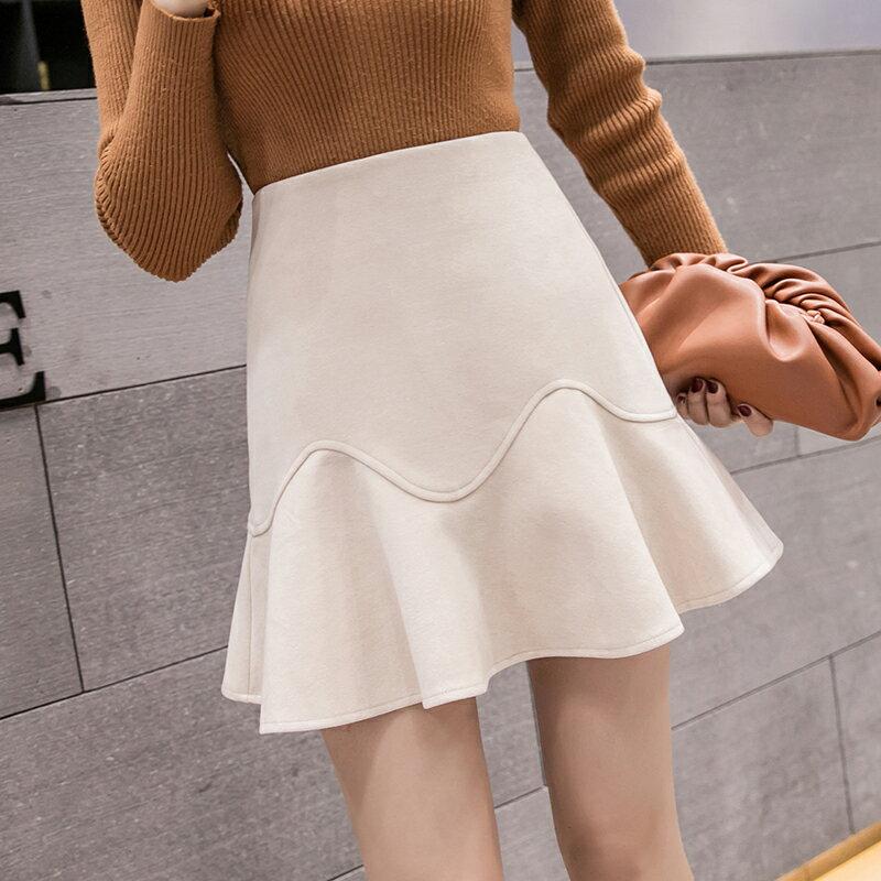 短裙女秋冬2019新款韓版純色荷葉邊包臀高腰毛呢a字半身裙魚尾裙1入