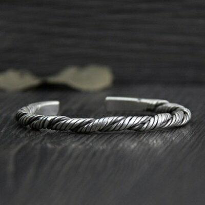 純銀手環 復古泰銀手鍊-時尚個性獨特扭紋生日情人節禮物女飾品73gg142【獨家進口】【米蘭精品】