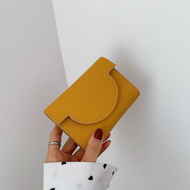 小紅書推薦簡約短款錢包女2020新款超薄小清新折疊搭扣零錢包卡包