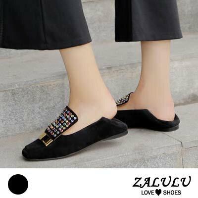 ZALULU愛鞋館 HB023 預購 獨特色彩配色羊皮平底包鞋-黑-35-39