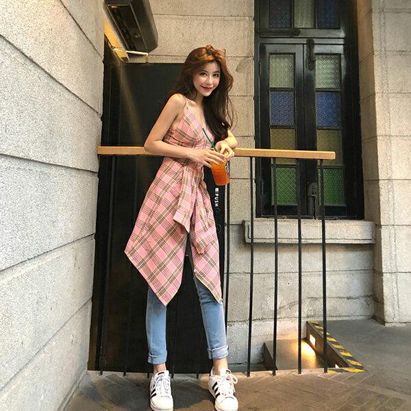 PS Mall 顯瘦格子吊帶背心+防曬襯衫兩件套【T575】 2