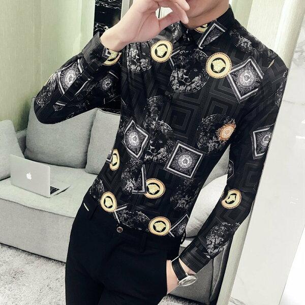 FINDSENSEG6韓國時尚春季新款男士長袖襯衫個性複古印花潮襯衫