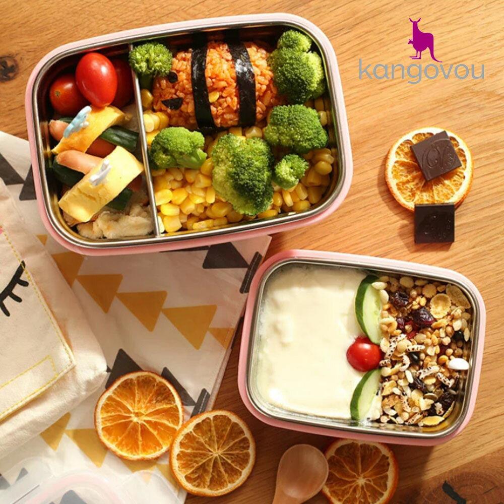 【kangovou】美國小袋鼠不鏽鋼安全 寶寶餐盒-珊瑚粉 1