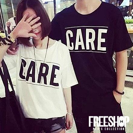 情侶短T Free Shop~QFSEK012~簡約百搭款CARE英字 印花棉質短T短袖上
