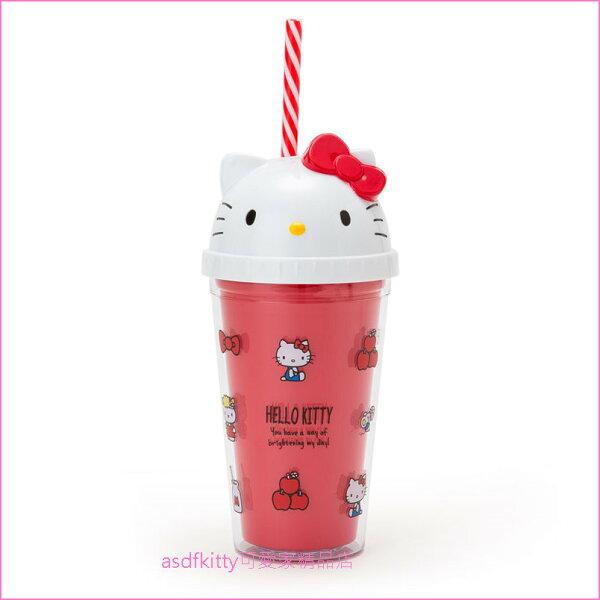 asdfkitty可愛家☆KITTY大臉造型紅色塑膠吸管杯-300ML-飲料杯-日本正版商品