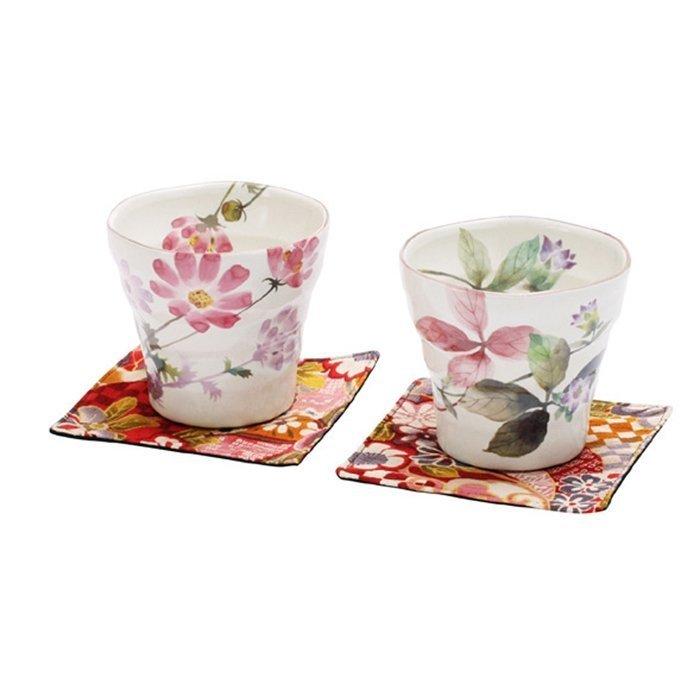 ~ 和藍~花さと茶杯對杯組  美濃燒    日式 無毒 瓷器 生日 結婚 送禮 工藝 收藏
