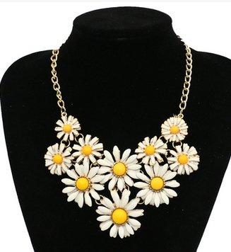 金屬清新小雛菊氣質誇張項鍊奢華短款璀璨花朵 花項鍊