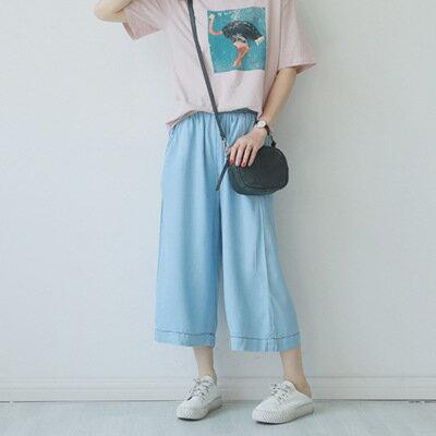 韓系女裝牛仔褲鬆緊收腰口袋寬鬆七分闊腿褲樂天時尚館。預購。[全店免運]