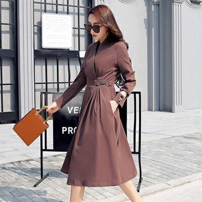 連身裙長袖洋裝-春季V領純色收腰女連衣裙4色73ri38【獨家進口】【米蘭精品】