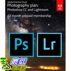 [106美國直購] 2017美國暢銷軟體 Adobe Creative Cloud Photography plan (Photoshop CC + Lightroom) [Prepaid Card]